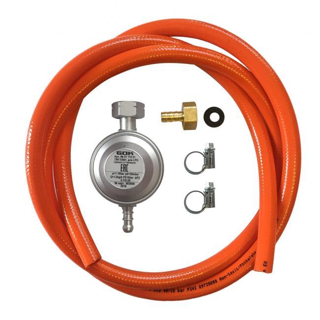 Набор для подключения оборудования к газовому баллону (редуктор 30 мбар, шланг 80 см и штуцер)
